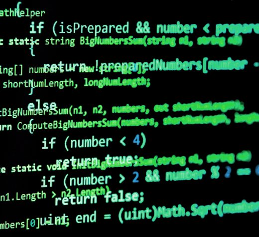Programming code - green color, written in C# language syntax on black